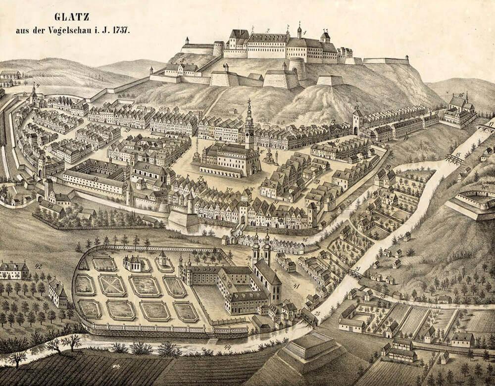 Kłodzko i zamek w 1737 r, na litografii Friedricha